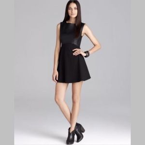 French Connection Faux Leather Fit & Flare Dress